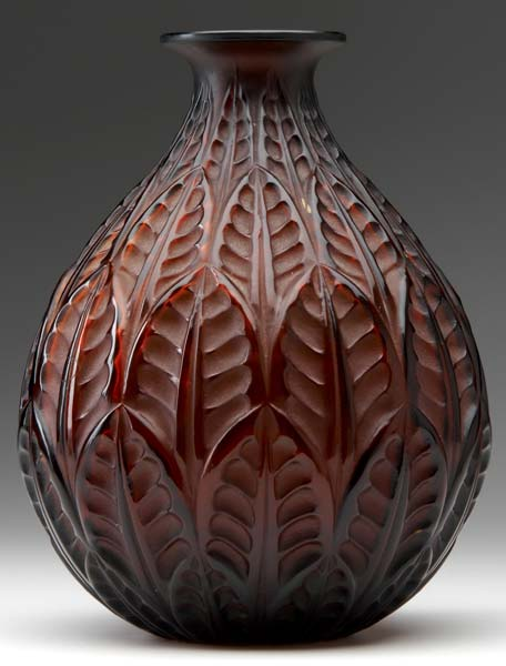 Lalique Malesherbes' vase of amber glass,with geometric leaf pattern