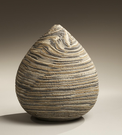 Matsui Kôsei Small neriage conical vase - marbleized gray, beige and white colored clays