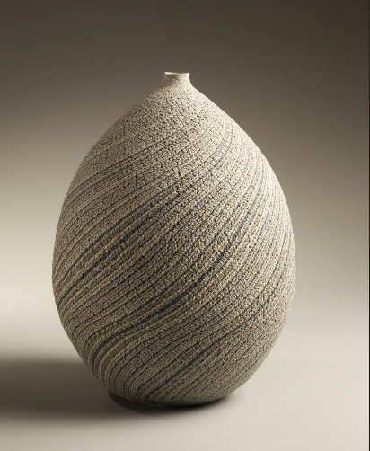 Matsui Kôse Vase - Ovoid vase striped with blue, gray and white marbleized colored clay
