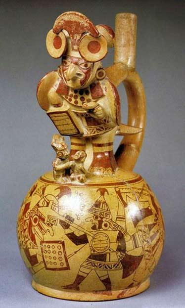 Moche-culture,-Peru stirrup vessel with warrior decorations