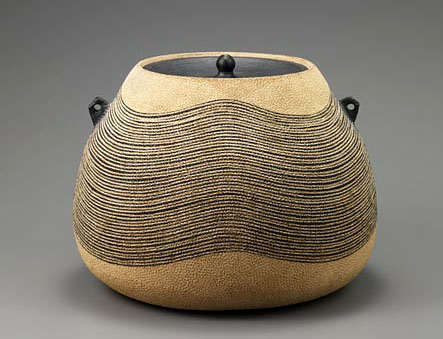 Hiroshi Miraji lidded ceramic vessel with small twin handles