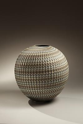 Ogata Kamio Spherical Vase - neriage Marbleized stoneware with twisted fluting colored clays