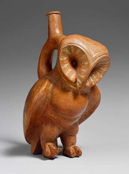 Owl-Stirrup-Spout-Bottle,-2nd–3rd-century-Peru,-Moche