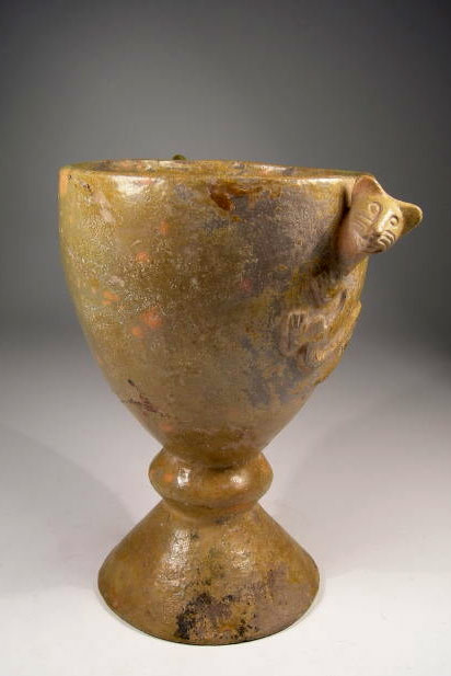 Peruvian-Colonial-Chalice with high relief jaguar