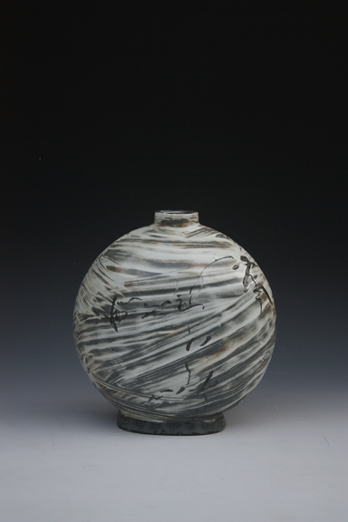 Bungcheong Flat Bottle with Ash Glaze by Lee Kang Hyo