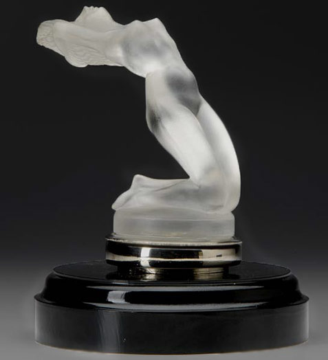 Lalique Chrysis car mascot frosted glass lady mascot
