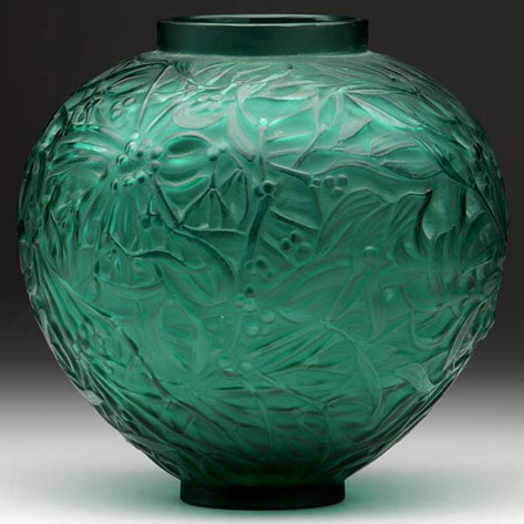 French Gui vase of deep teal green glass by lalique