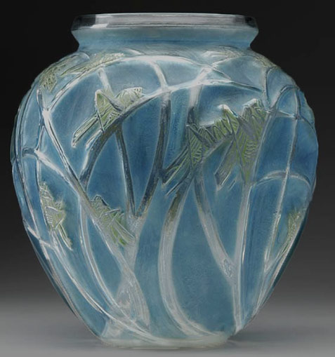 Blue sauterelles-grasshopper vase by Lalique