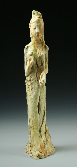 standing Kuan Yin sculpture by Pat Swyler