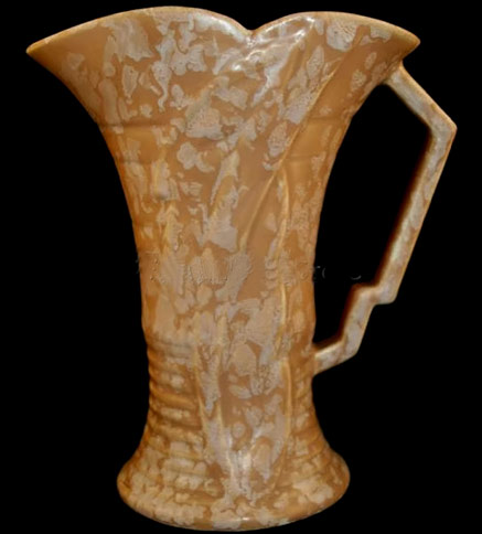 60s Arthur Wood orange ceramic Art Deco jug with geometric handle