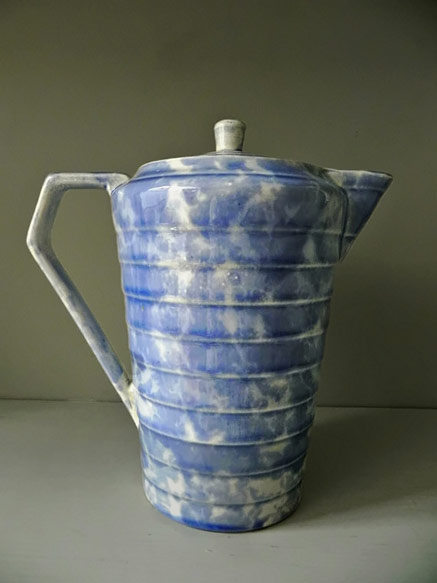 Wade Heath lidded Coffee Pot in blue and white