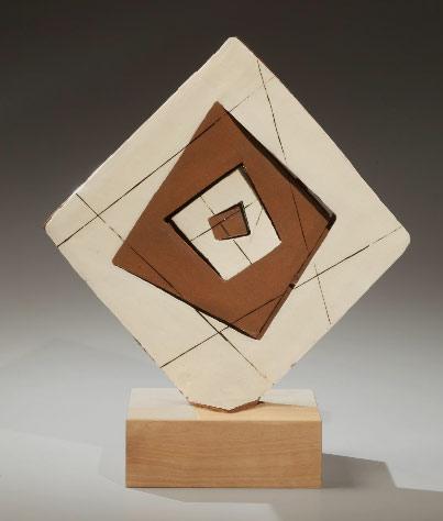 Yamada-Hikaru Sculpture - Diamond-shaped glazed perforated stoneware sculpture.1972