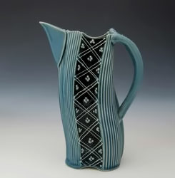 Charan Sachar turquoise and black ceramic pitcher - Creative With Clay