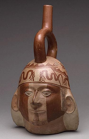 Moche Ceramic Portrait Head Bottle
