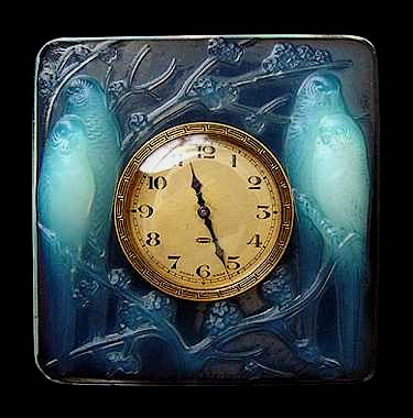Rene Lalique Inseperables glass desk clock