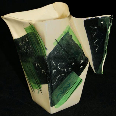 Art Deco jug in green, black and white