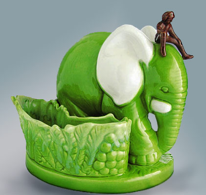 Elephant Planter Haeger lime green colour