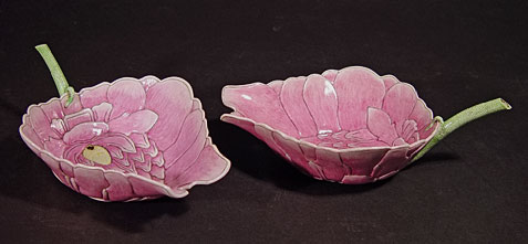 Pair-of-pink Chinese porcelain lotus dishes