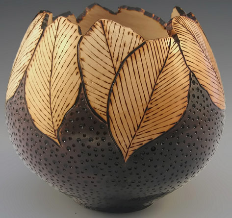 Dale Cook Wood Carved bowl with leaf motifs