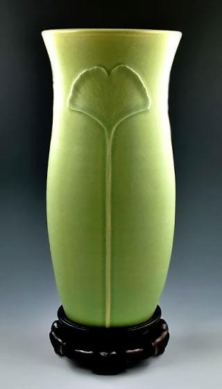 Ginkgo Meditation Vase Celery green glaze