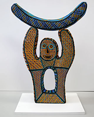 Mark-Virgil-Puautjimi,-Tiwi-Design,-2006,-Japara---the-moon-man,-earthenware,-underglaze-decoration,-