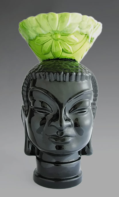 Black ceramic head - temple goddess - Haeger