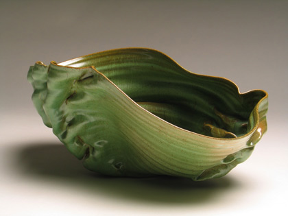 Anne Marie Laureys contemporary green ceramic vessel