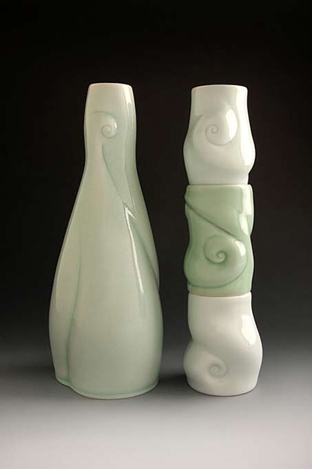amy-kline-spirit-bottle-and-cups ceramic decanter and three cups