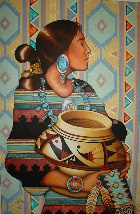 Native American lady holding a pot