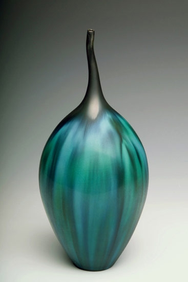 Jan Bilek porcepain teal striped bottle