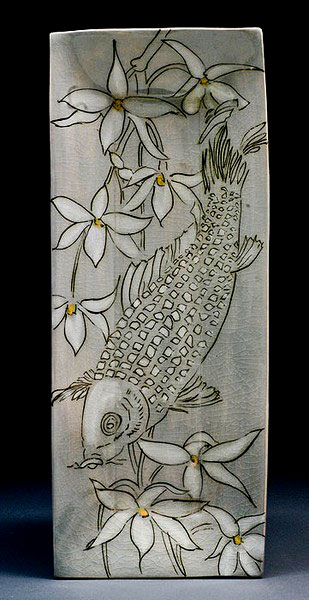 Karen Burk - Fish on a rectangular platter: White orchids on gray porcelain with underglaze decoration
