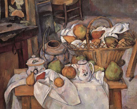 cezanne-still life painting fruit and pottery
