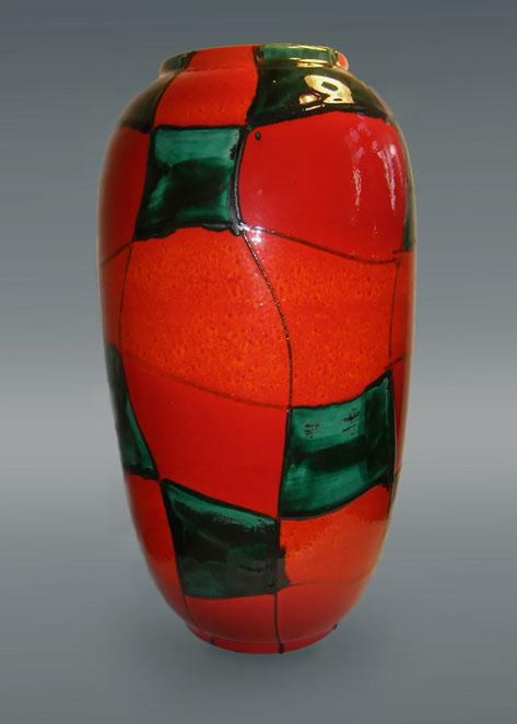 Vintage West German Pottery Vase Vtg Scheurich Inka Orange Glaze