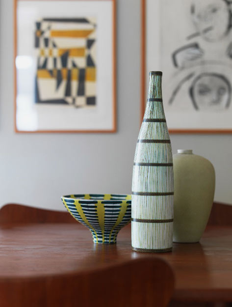 Stig Lindberg and Saxbo ceramics - mid-century modern bowl and bottle