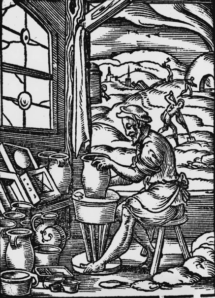 A woodcut of a potter on his pottery wheel