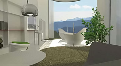 Twin bath pods with a view for the living room.