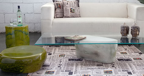 Ceramic contructed seat, side table and coffee table base by Ifat Shterenberg