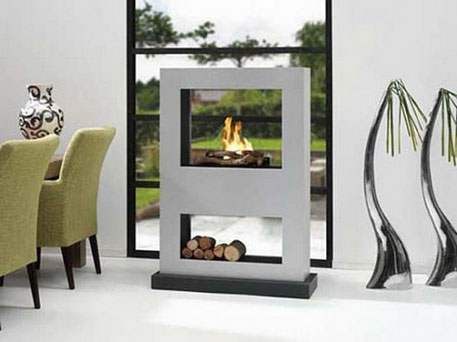 bio futuristic fireplace with clean rectangular design