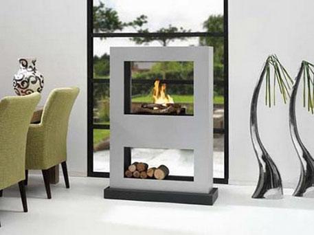 bio futuristic fireplace with clean rectangular design
