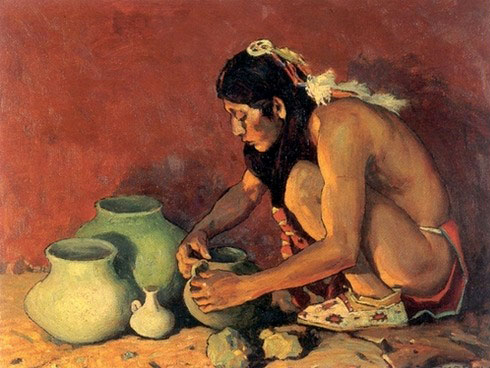 Irving Eanger painting of a Native American potter amking a pot