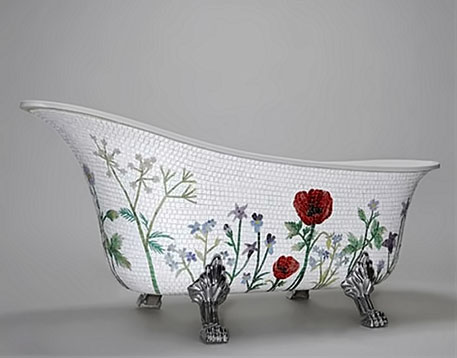 Flower mosaic bathtub by Mosaic Sweden - floral designs on white mosaic