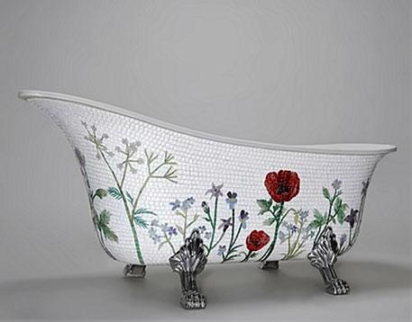 Flower mosaic bathtub by Mosaic Sweden - floral designs on white mosaic