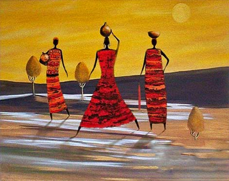 3 woman with pots painting