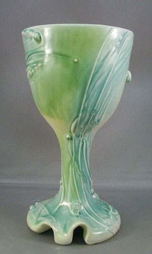 jade green ceramic goblet - Carol Long