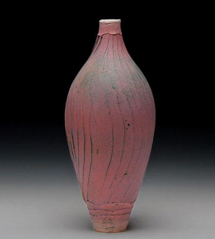 Matt glaze pink-ovoid vase