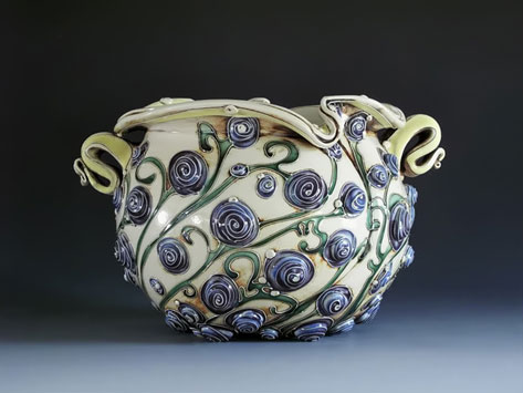 Jardiniere with swirled spiral beads and curvy handles by Carol Long