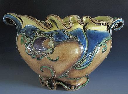Art nouveau inspired Carol Long ceramic vessel