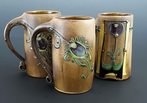 Carol-Long-three-ceramic-mugs with abstract motifs