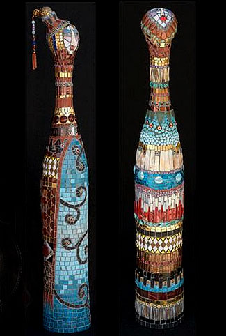 Irinia-Charny-two mosaic bottles with female heads