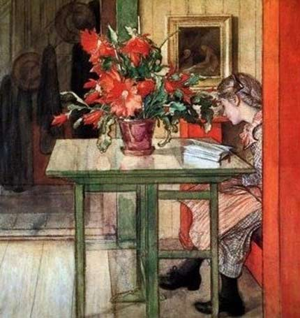 painting of a girl reading at a table , large vase of red flowers by Carl Larsson